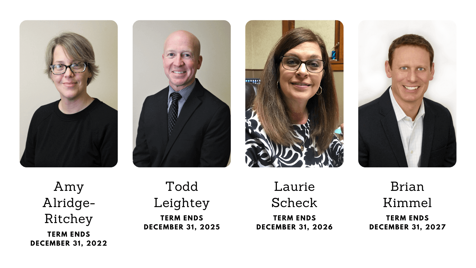 Board of Trustees members Amy Alridge-Ritchey, Todd Leightey, Laurie Scheck, Brian Kimmel